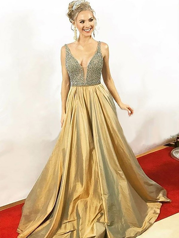 Gold Taffeta V-neck A-Line/Princess Floor-Length Dresses