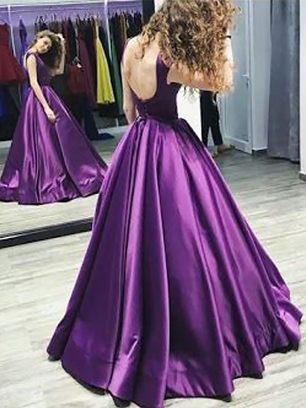Grape Satin Bateau A-Line/Princess Floor-Length Dresses