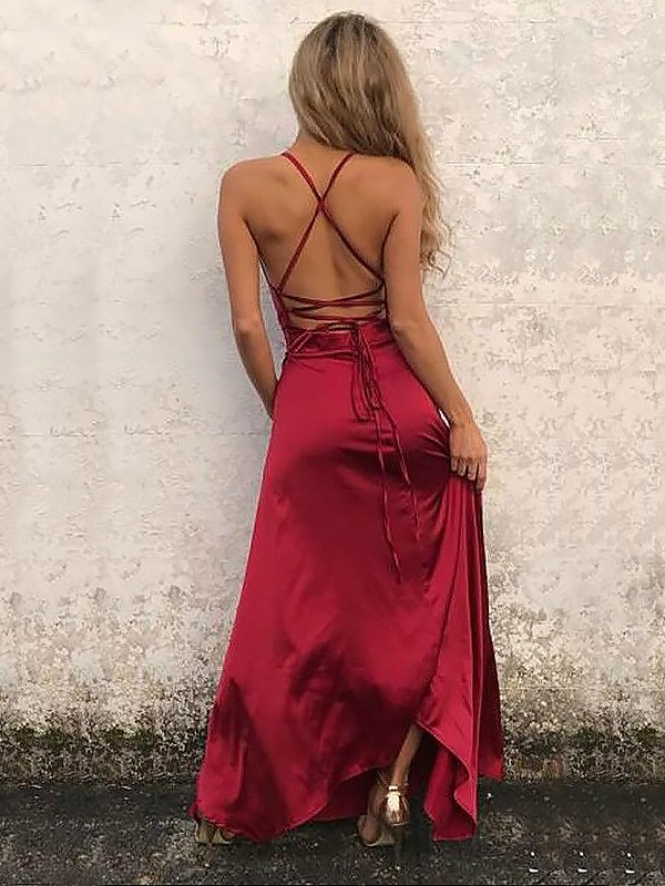 Burgundy Elastic Woven Satin Spaghetti Straps A-Line/Princess Floor-Length Dresses