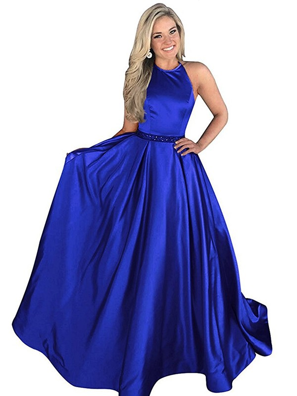 Light Sky Blue Satin Halter A-Line/Princess Sweep/Brush Train Dresses