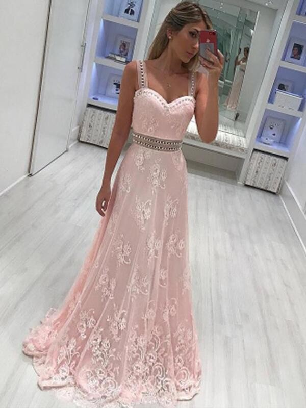 Pink Satin Sweetheart A-Line/Princess Floor-Length Dresses
