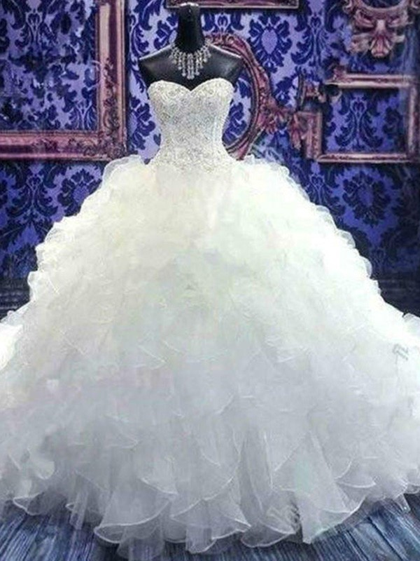 White Organza Sweetheart Ball Gown Chapel Train Wedding Dresses