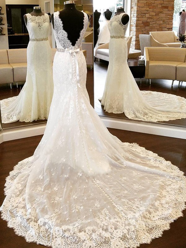 Ivory Lace Scoop Sheath/Column Chapel Train Wedding Dresses
