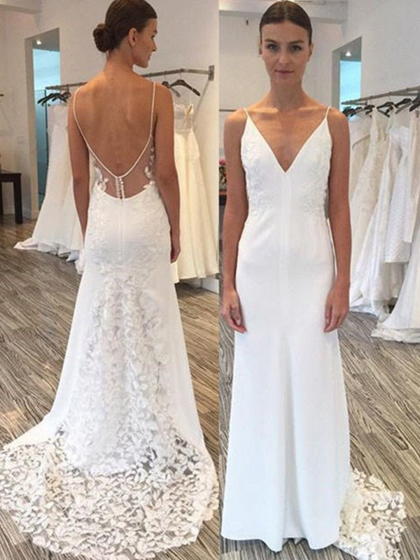 White Satin Spaghetti Straps Sheath/Column Sweep/Brush Train Wedding Dresses