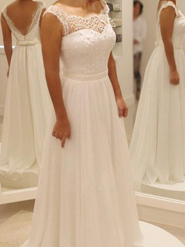 Ivory Chiffon Scoop A-Line/Princess Sweep/Brush Train Wedding Dresses