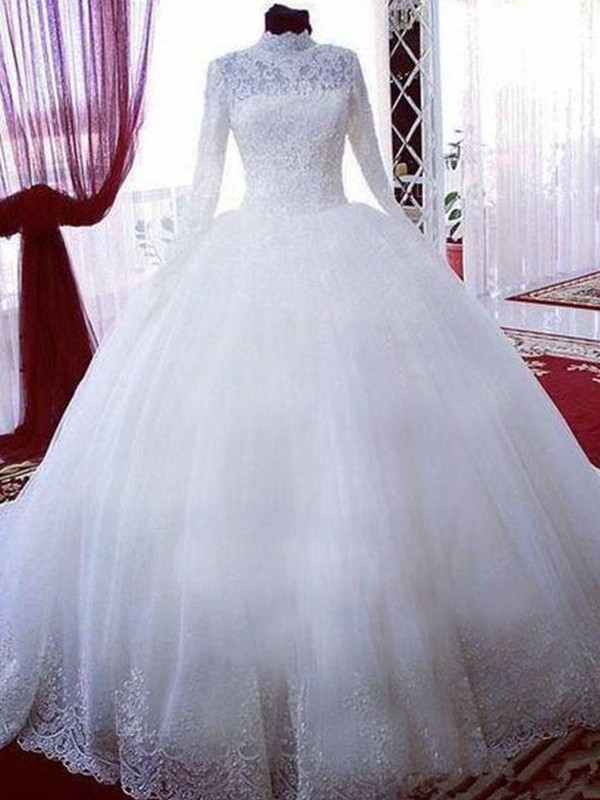 White Tulle High Neck Ball Gown Chapel Train Wedding Dresses