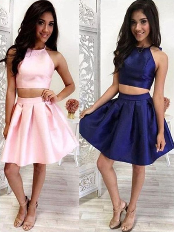 Pink Satin Halter A-Line/Princess Short/Mini Two Piece Dresses