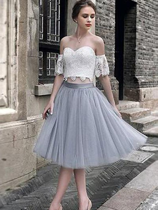 Silver,Green Tulle Sweetheart A-Line/Princess Tea-Length Dresses