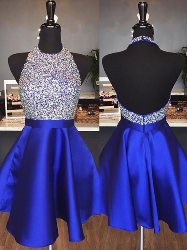 Royal Blue Satin Halter A-Line/Princess Short/Mini Dresses