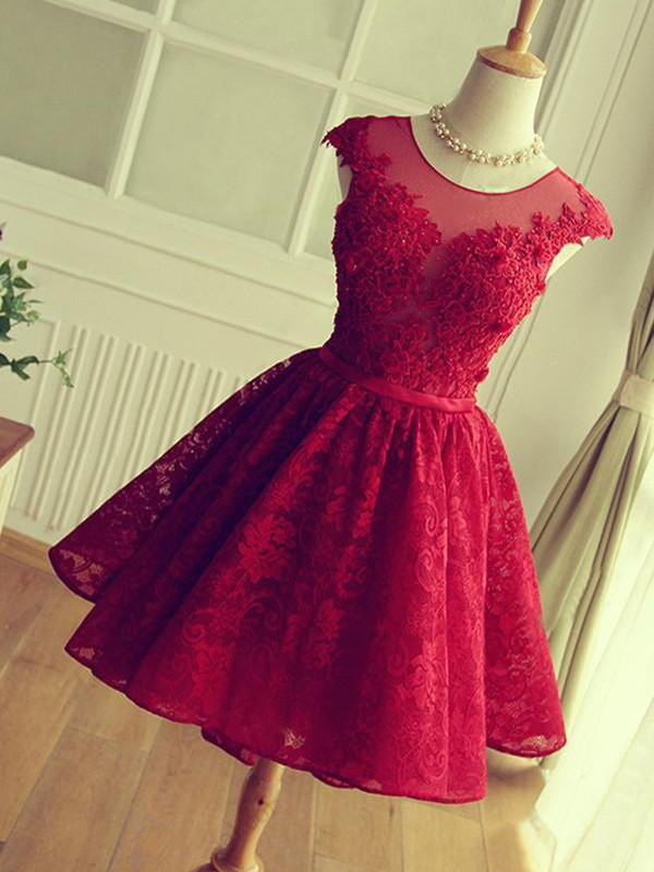 Red Lace Jewel A-Line/Princess Short/Mini Dresses