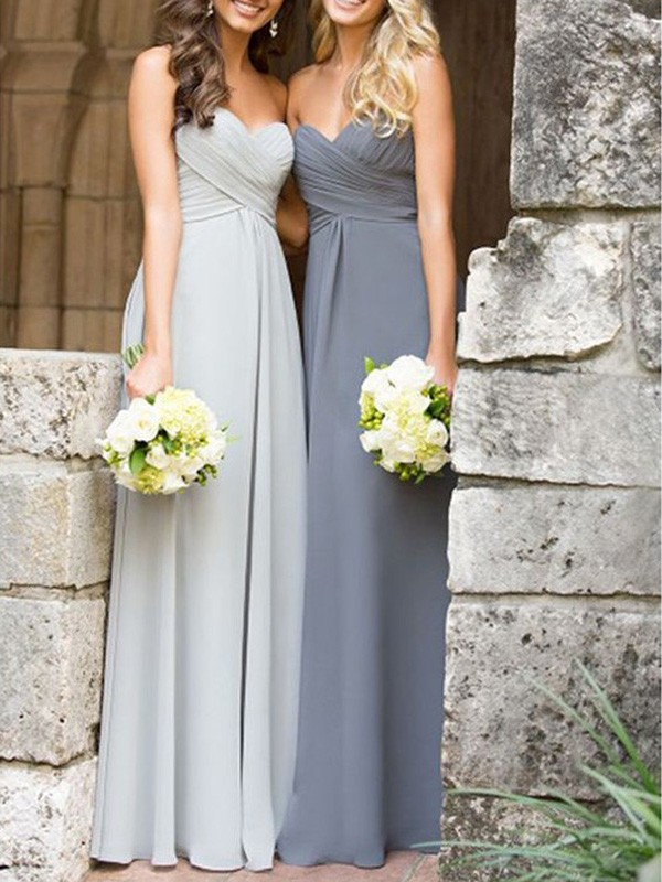Grey Chiffon Sweetheart A-Line/Princess Floor-Length Bridesmaid Dresses