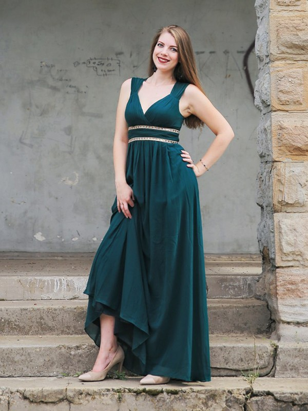 Drke Green Chiffon V-neck Empire Floor-Length Dresses