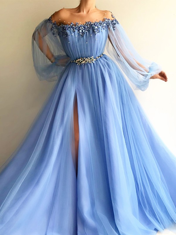 Blue Tulle Off-the-Shoulder A-Line/Princess Floor-Length Dresses