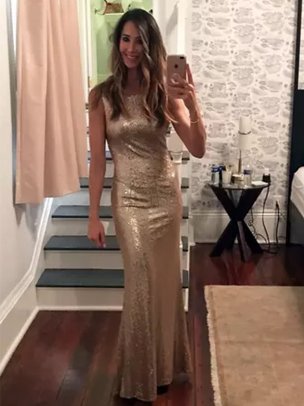 Gold Sequins Bateau Sheath/Column Floor-Length Dresses