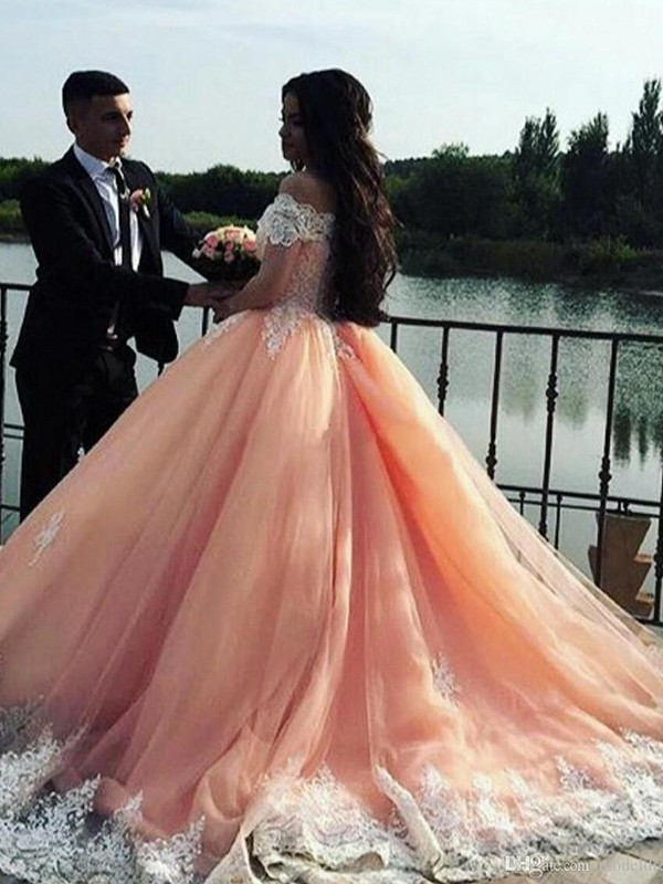 Pink Tulle Off-the-Shoulder Ball Gown Court Train Dresses