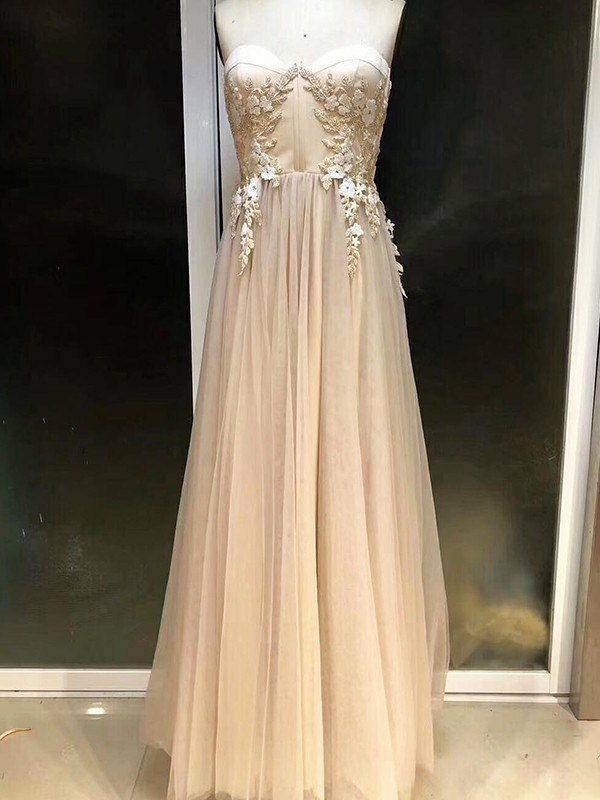 Champagne Tulle Sweetheart Empire Floor-Length Dresses