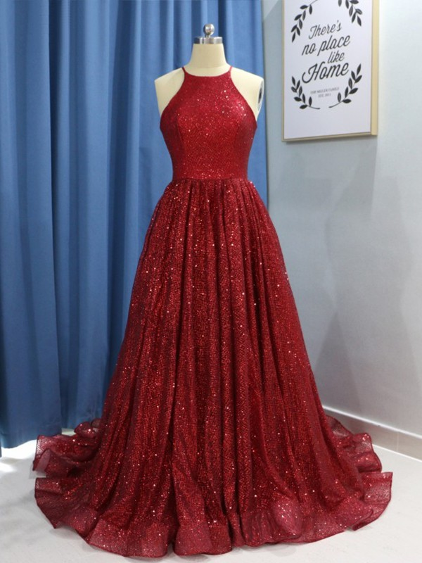 Burgundy Sequins Jewel A-Line/Princess Sweep/Brush Train Dresses