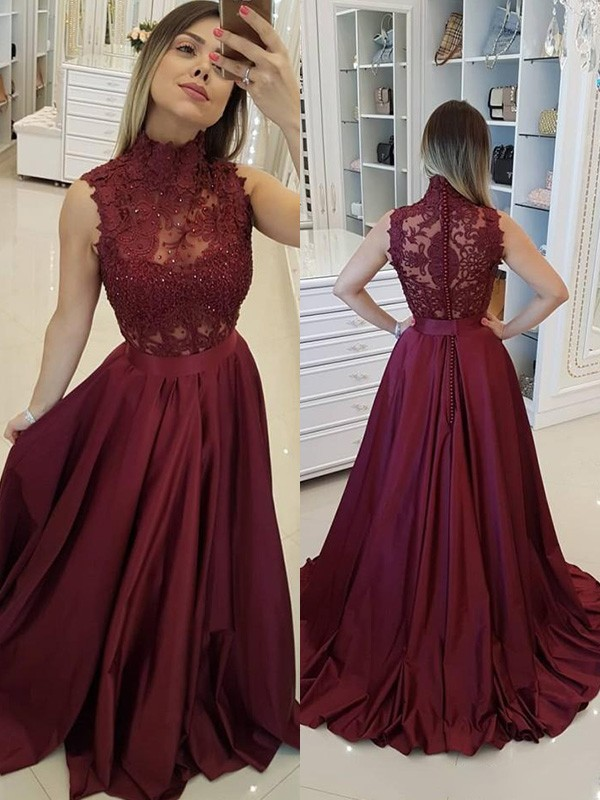 Burgundy Satin High Neck A-Line/Princess Sweep/Brush Train Dresses