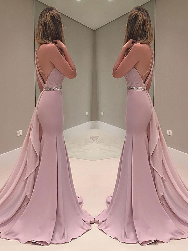 Pink Chiffon One-Shoulder Trumpet/Mermaid Sweep/Brush Train Dresses