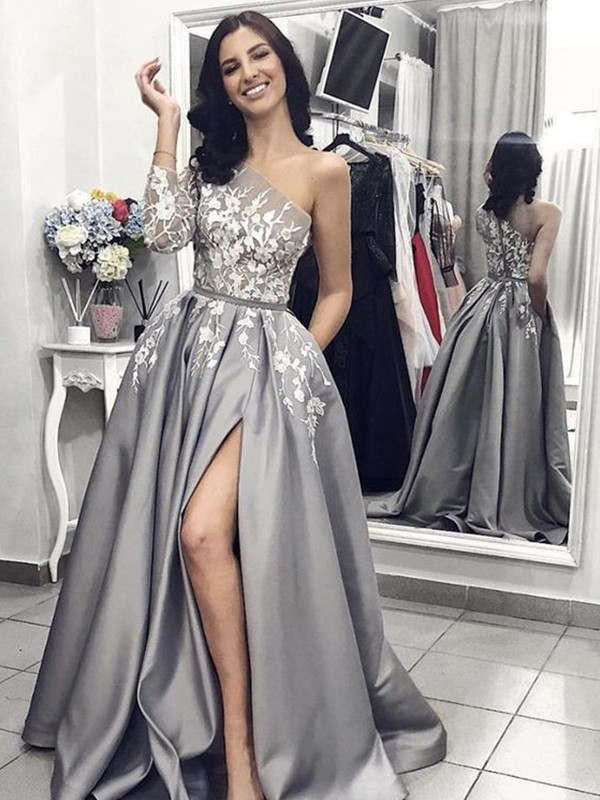 Grey Satin One-Shoulder A-Line/Princess Sweep/Brush Train Dresses