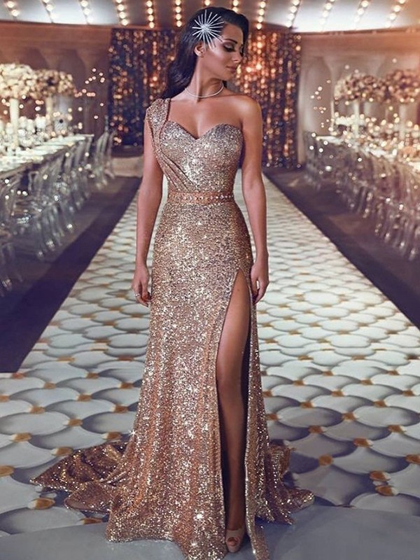 Champagne Sequins One-Shoulder Sheath/Column Sweep/Brush Train Dresses