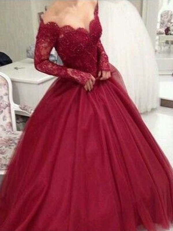 Burgundy Tulle V-neck Ball Gown Floor-Length Dresses