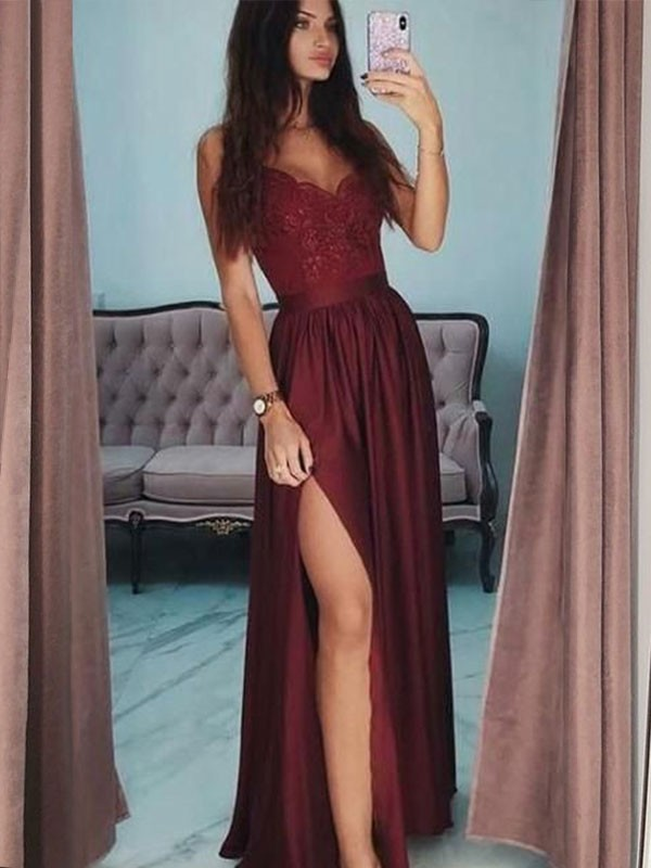 Burgundy Satin V-neck A-Line/Princess Floor-Length Dresses