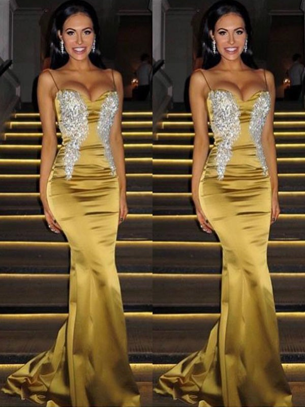 Gold Satin Spaghetti Straps Trumpet/Mermaid Sweep/Brush Train Dresses