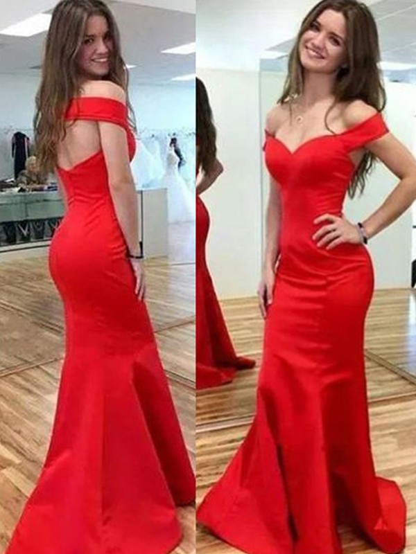 Red Satin Off-the-Shoulder Trumpet/Mermaid Floor-Length Dresses