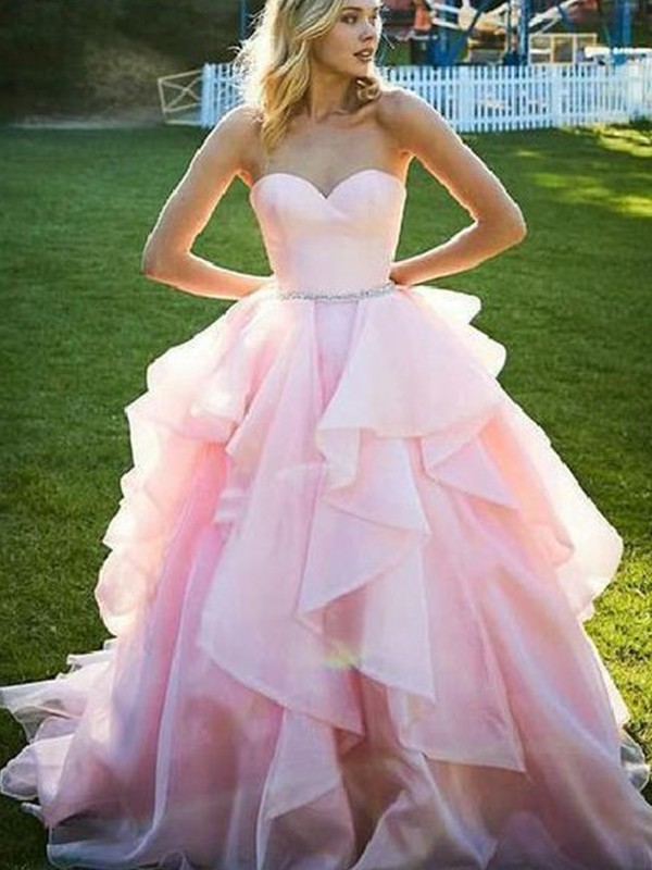 Pink Organza Sweetheart Ball Gown Floor-Length Dresses