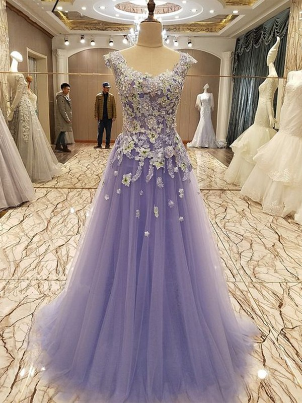 Lilac Tulle Scoop A-Line/Princess Floor-Length Dresses