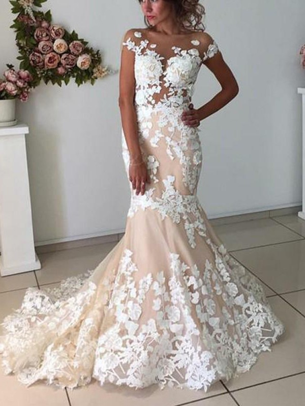 Champagne Tulle Bateau Trumpet/Mermaid Sweep/Brush Train Wedding Dresses