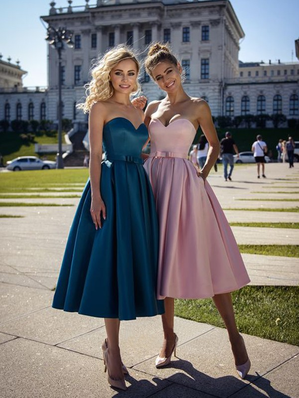 Blue Satin Sweetheart A-Line/Princess Tea-Length Dresses