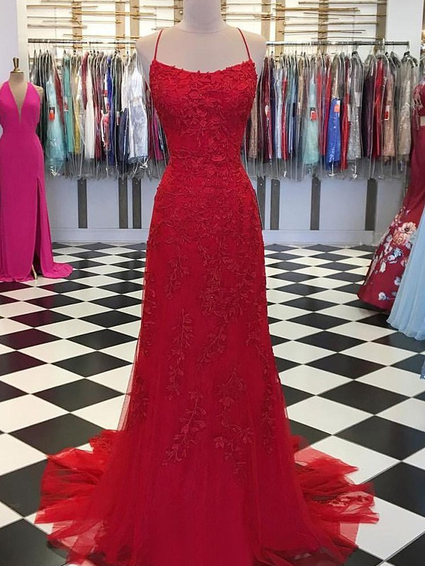 Red Tulle Spaghetti Straps A-Line/Princess Sweep/Brush Train Dresses