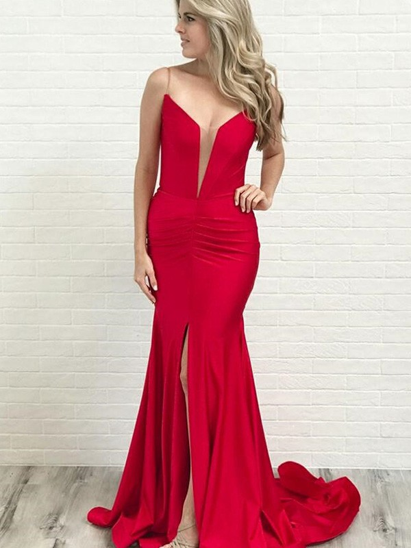 Red Satin Spaghetti Straps A-Line/Princess Court Train Dresses