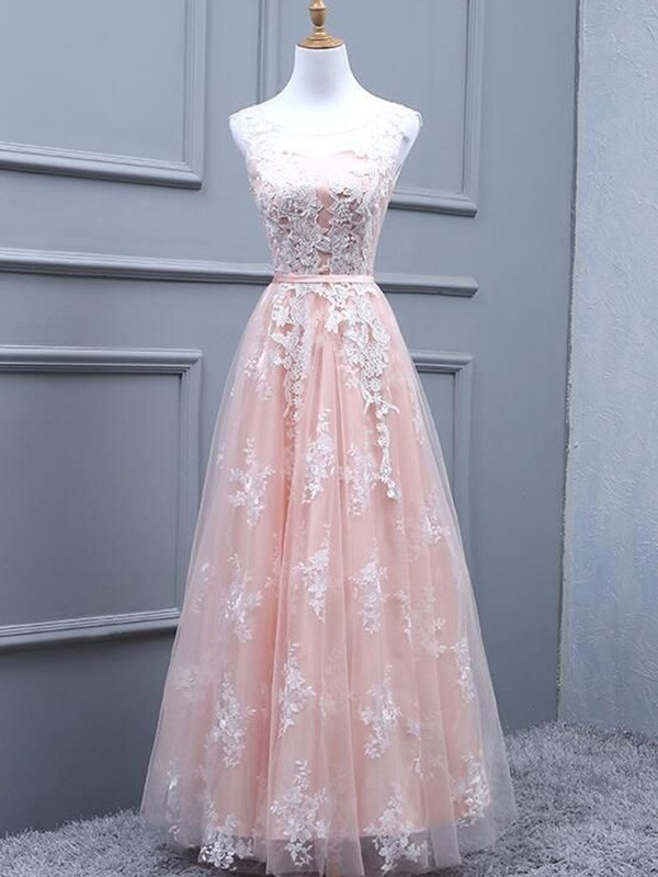 Pearl Pink Tulle Scoop A-Line/Princess Floor-Length Dresses