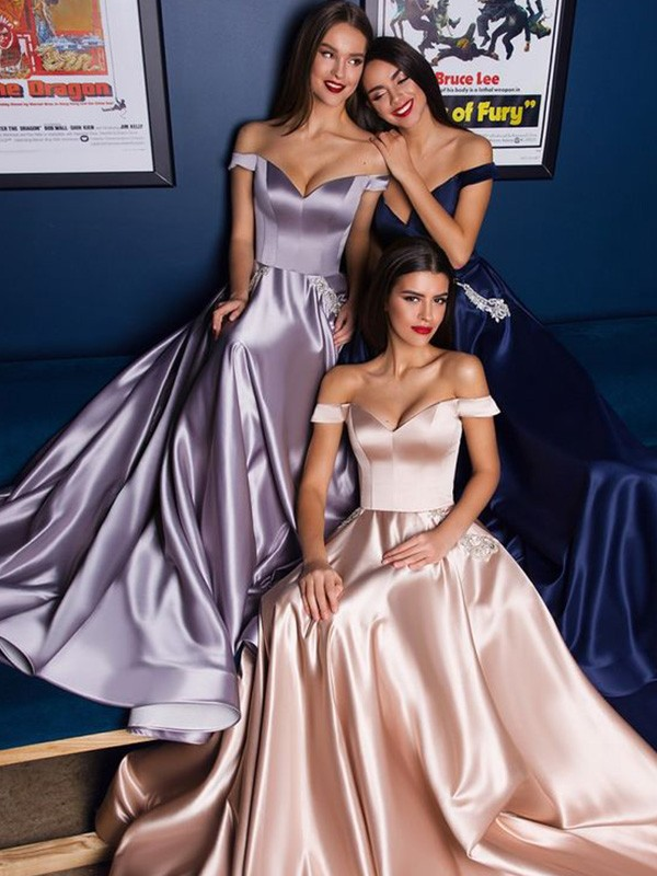 Lavender Satin Off-the-Shoulder A-Line/Princess Sweep/Brush Train Dresses
