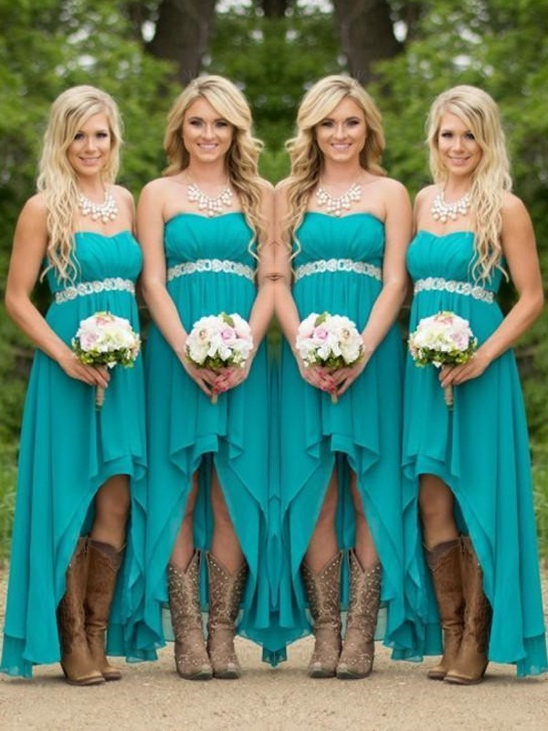 Green Chiffon Sweetheart A-Line/Princess Asymmetrical Bridesmaid Dresses
