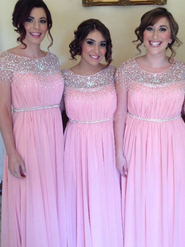Pink Chiffon Scoop A-Line/Princess Floor-Length Bridesmaid Dresses
