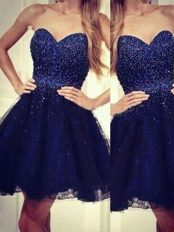 Dark Navy Tulle Sweetheart A-line/Princess Short/Mini Dresses