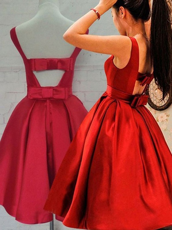 Red Satin Scoop A-line/Princess Short/Mini Dresses