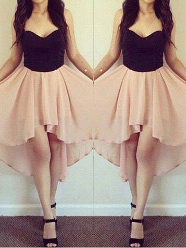 Pink Chiffon Sweetheart A-line/Princess Short/Mini Dresses