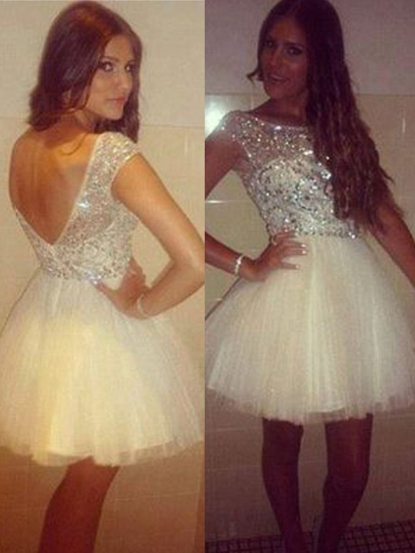 White Tulle Scoop A-line/Princess Short/Mini Dresses