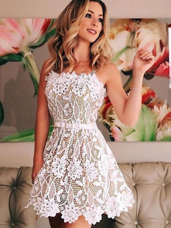 White Lace Straps A-line/Princess Short/Mini Homecoming Dresses