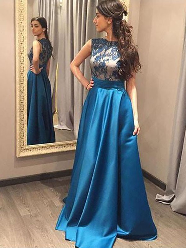 Blue Satin Bateau A-Line/Princess Floor-Length Dresses