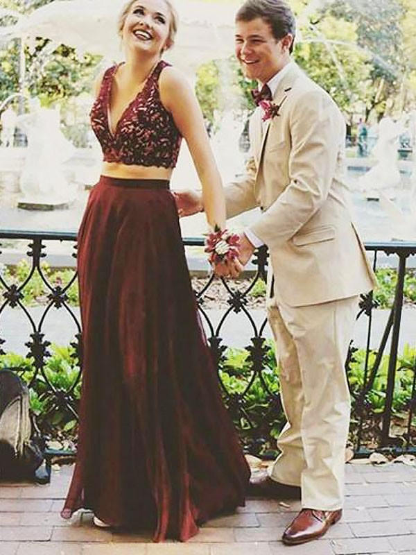 Burgundy Chiffon V-neck A-Line/Princess Floor-Length Dresses