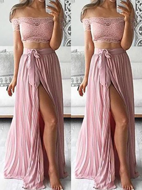 Pink Chiffon Off-the-Shoulder A-Line/Princess Floor-Length Dresses
