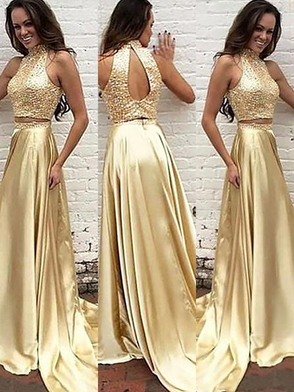 Gold Satin High Neck A-Line/Princess Sweep/Brush Train Dresses