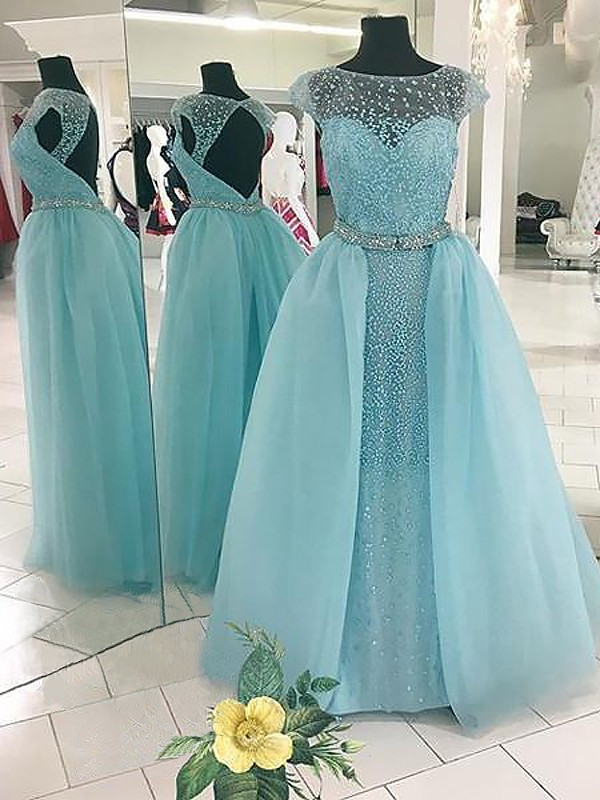 Light Sky Blue Tulle Bateau Ball Gown Floor-Length Dresses