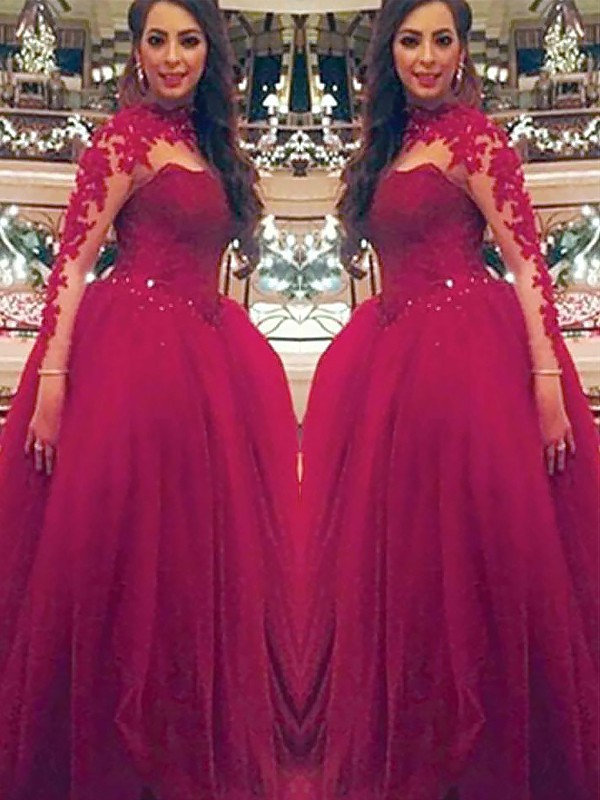 Burgundy Tulle High Neck Ball Gown Floor-Length Dresses